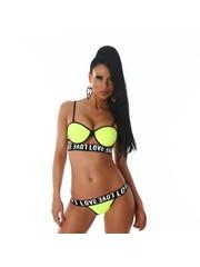 Trendy Bikini Set met Softcups Neon Geel