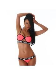 Trendy Bikini Set met Softcups Neon Apricot