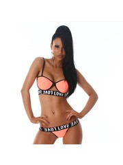 Trendy Bikini Set met Softcups Neon Oranje