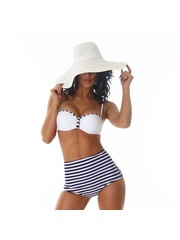 Push-Up Trendy Bikini Set Wit / Blauw
