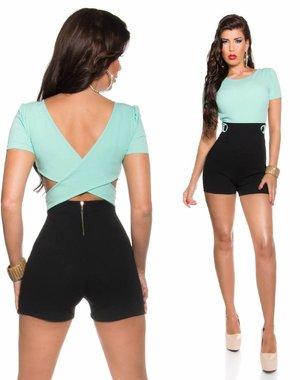 Korte Fashion Playsuit Mint / Zwart