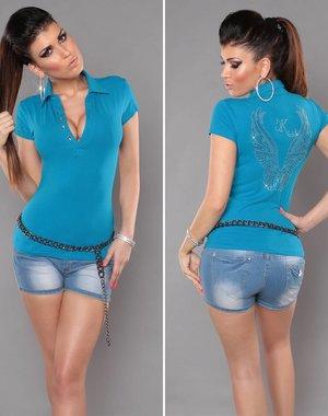 Poloshirt met Engel Vleugels Turquoise Blauw