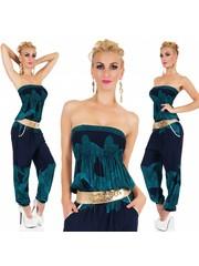Tropical Lange Strapless Jumpsuit Groen / Blauw