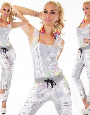 Lange Fashion Jumpsuit Licht Grijs