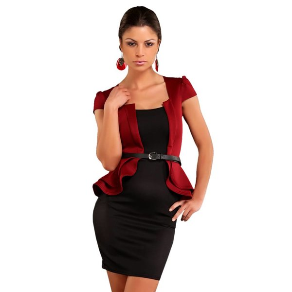 Peplum Fashion Mini Jurk Wijnrood / Zwart