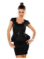 Peplum Fashion Mini Jurk Zwart
