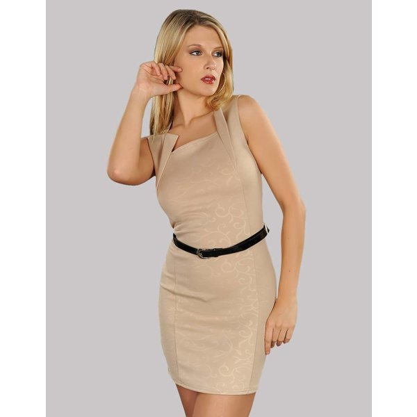Fashion Mini Jurk met Riem Beige