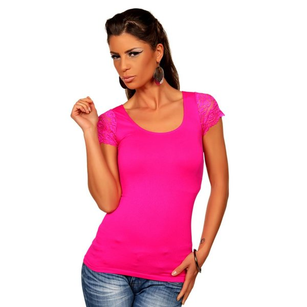 Fashion Topje met Korte Mouwen Pink