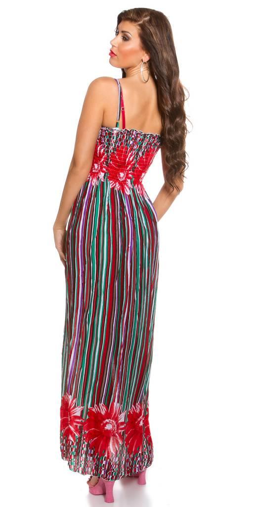 d04b8ad320e425 Lange Strapless Zomerjurk Multicolor Rood - Fashion Of M