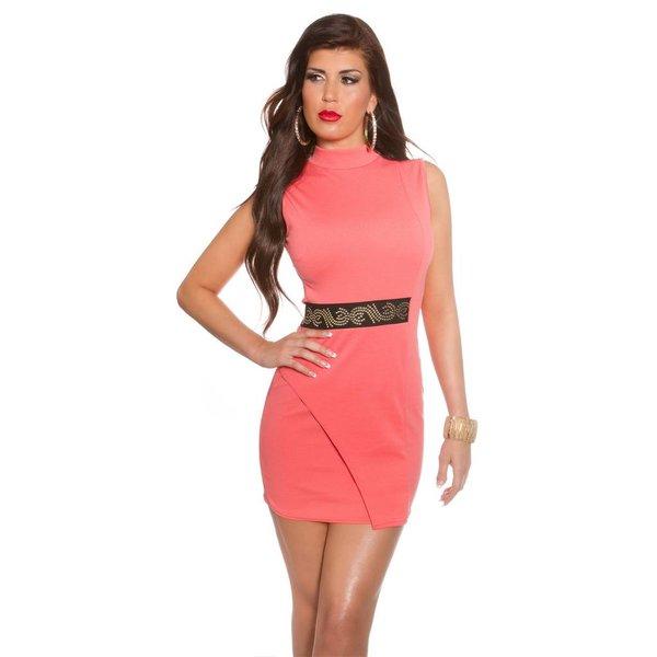 Fashion Mini Jurk met Sta Kraag Coral