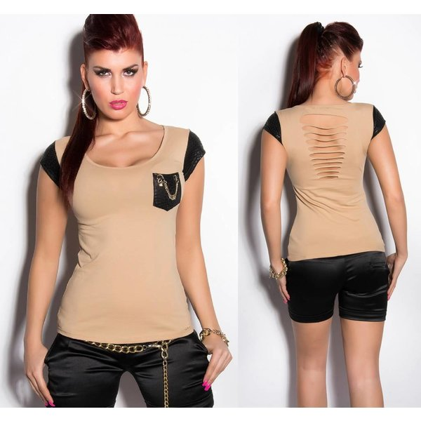 Fashion Topje met Reptile Look Beige