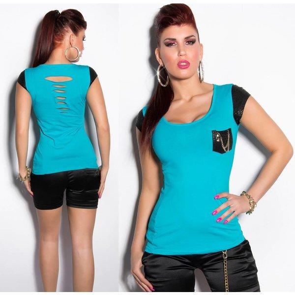 Fashion Topje met Reptile Look Turquoise