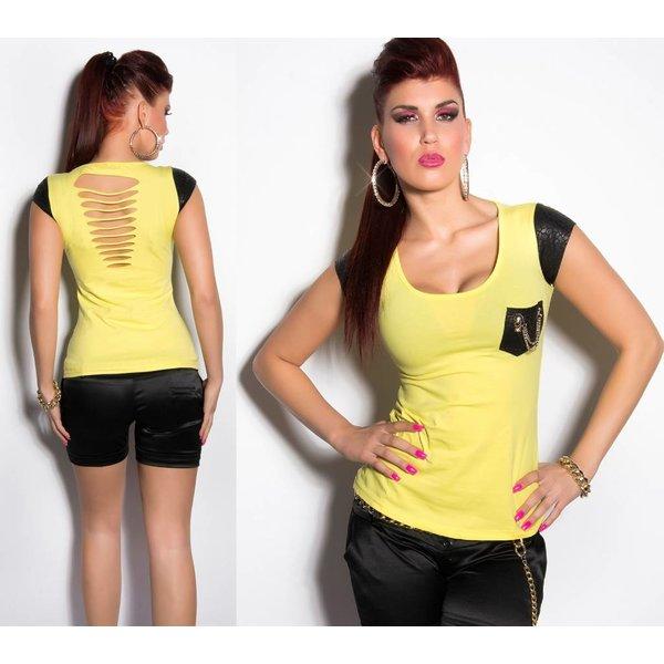 Fashion Topje met Reptile Look Geel