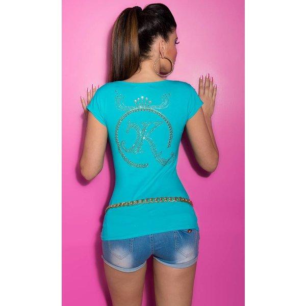 Poloshirt met KouCla Strass Applicatie Turquoise
