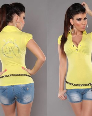 Poloshirt met KouCla Strass Applicatie Geel