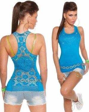Fashion Topje Versierd met Strass Turquoise