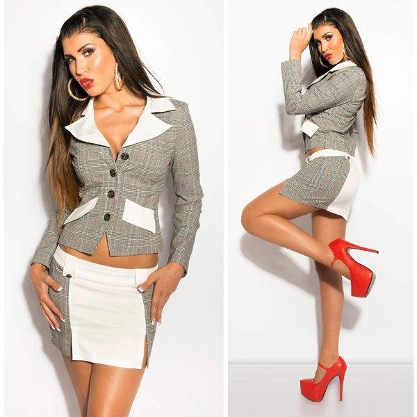 Geruite Fashion Blazer Wit