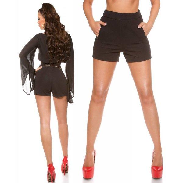 Trendy Short met Hoge Taille Zwart