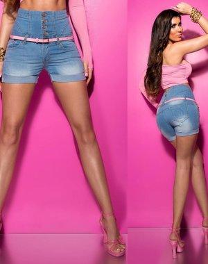 Fashion Jeanshort met Hoge Taille & Riem