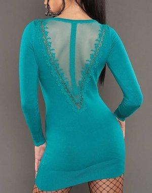 Lange Trui met Borduursel Turquoise