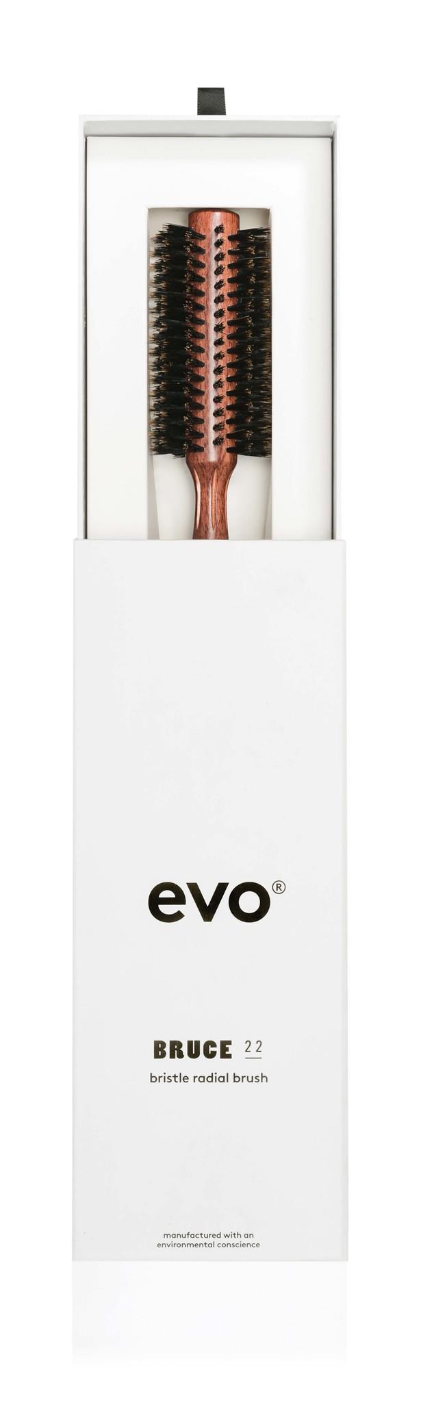 EVO Brosse BRUCE ronde à poils de sanglier naturels 22 mm
