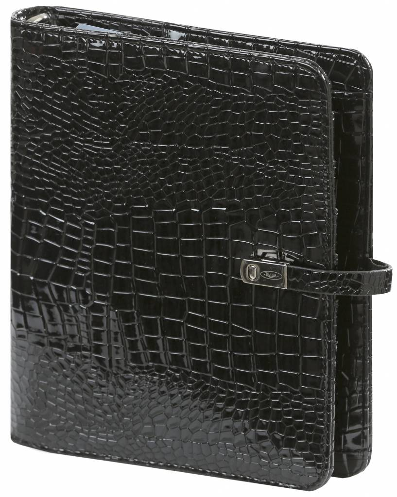 Kalpa 1011-61 Kalpa A5 Organiser Faux Leather With Paper Fillers Weekly Planner, Journal, Diary - Gloss Croco Black