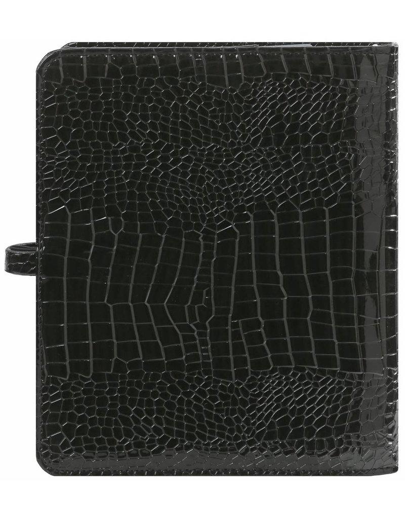 Kalpa A5 organizer gloss croco zwart