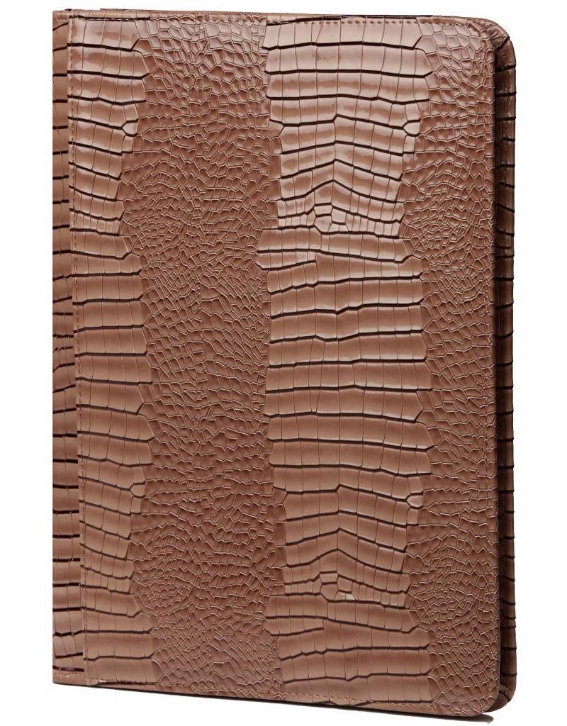Kalpa Alpstein schrijfmap met rits gloss croco taupe