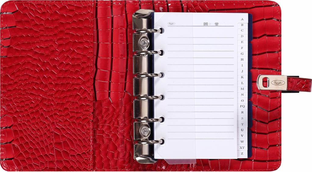 Kalpa 1311-62 Kalpa Junior Pocket Organiser with Paper Fillers, Weekly Planner, Journal, Diary - Gloss Crock Red