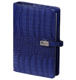 Kalpa 1111-67 Kalpa Personal Organisers Leather with Paper Filler Weekly Planner, Journal, Diary - Cobalt Croco Blue