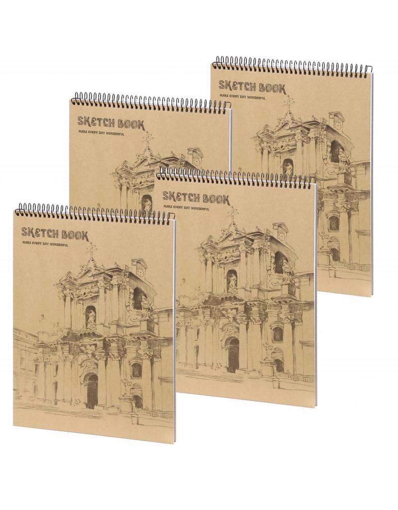 Dreamnotes D5052-P4 4 Stuks A4 Schetsboek Wondervol 36 x 25 cm. 50 p