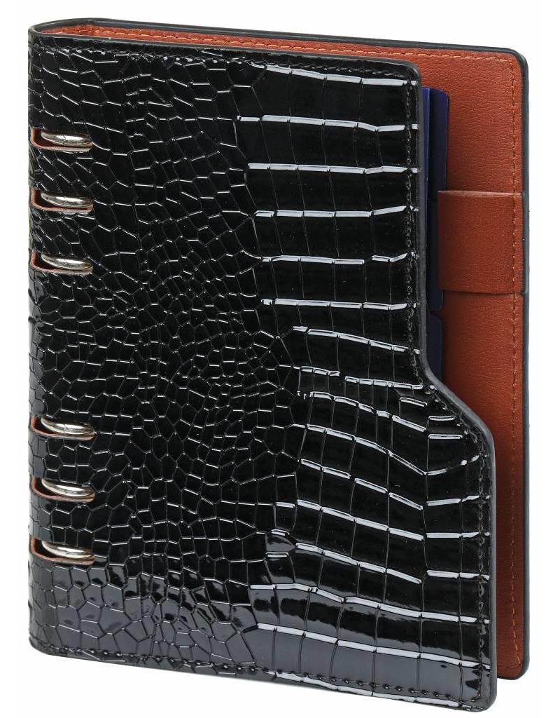 Kalpa Compact personal organiser gloss croco black