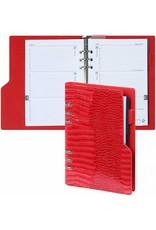 Kalpa 1116-62 Kalpa Compact Personal Organiser Agenda Paper Fillers, Journal, Diary - 19 x 14 cm - Gloss Croco Red