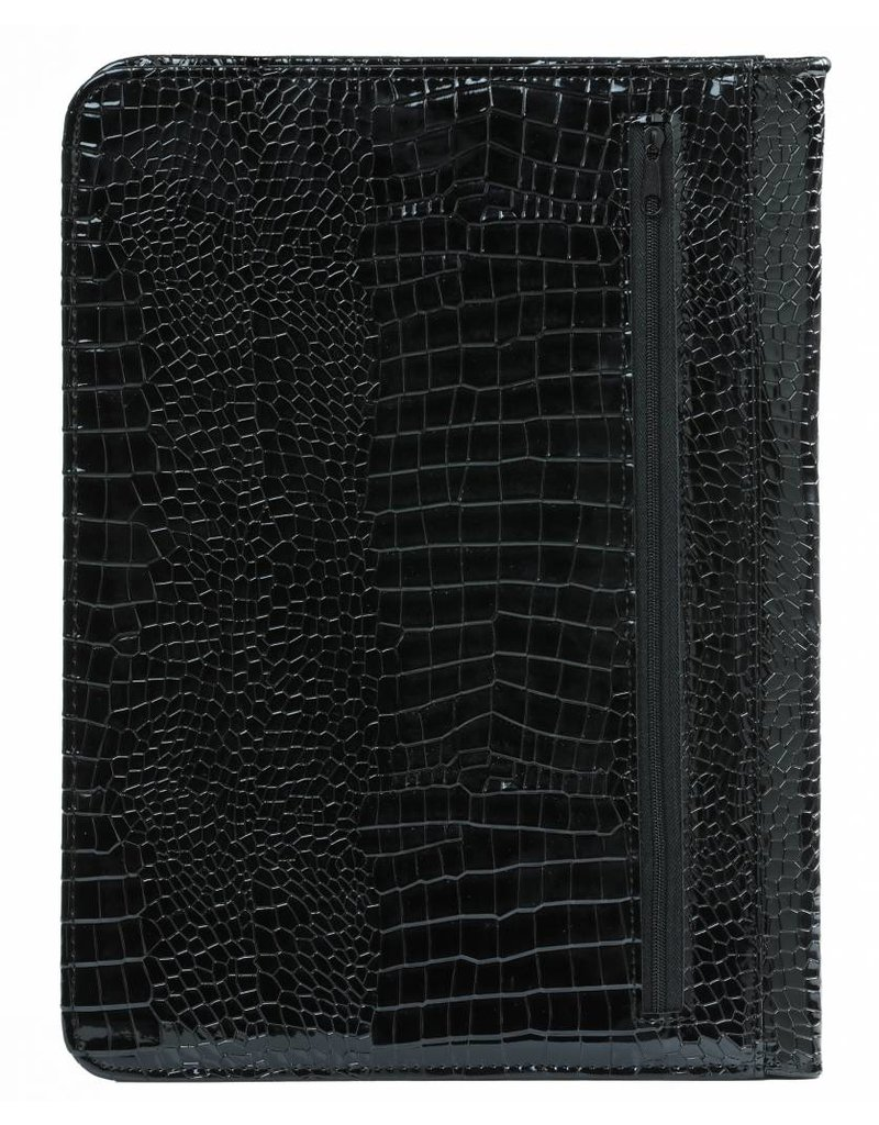 Kalpa Alpstein writing case with zip gloss croco black
