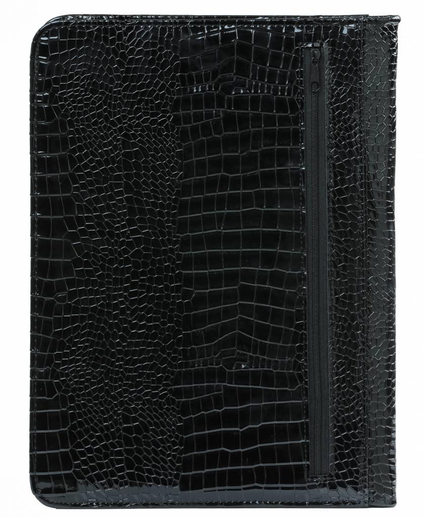 Kalpa Kalpa Alpstein schrijfmap met rits gloss-croco zwart