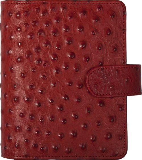 Kalpa 1311-Sr Kalpa Junior Pocket Organiser Handmade Leather With Paper Fillers, Journal, Diary - ostrich printed red