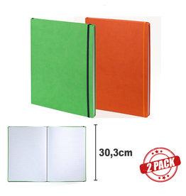 7126 - 2 A4 notitieboeken Praga oranje en groen