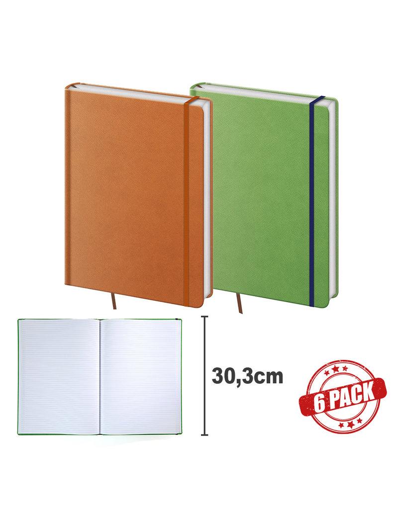 BNPR464-6  Packet of 6 A4 notebooks Praga orange and green