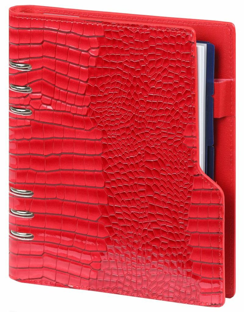 Kalpa Kalpa A5 Compact Organizer Gloss Croco Red with planner