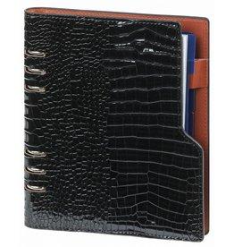 Kalpa P1016-61 Compact A5 organizer gloss croco zwart  met planner
