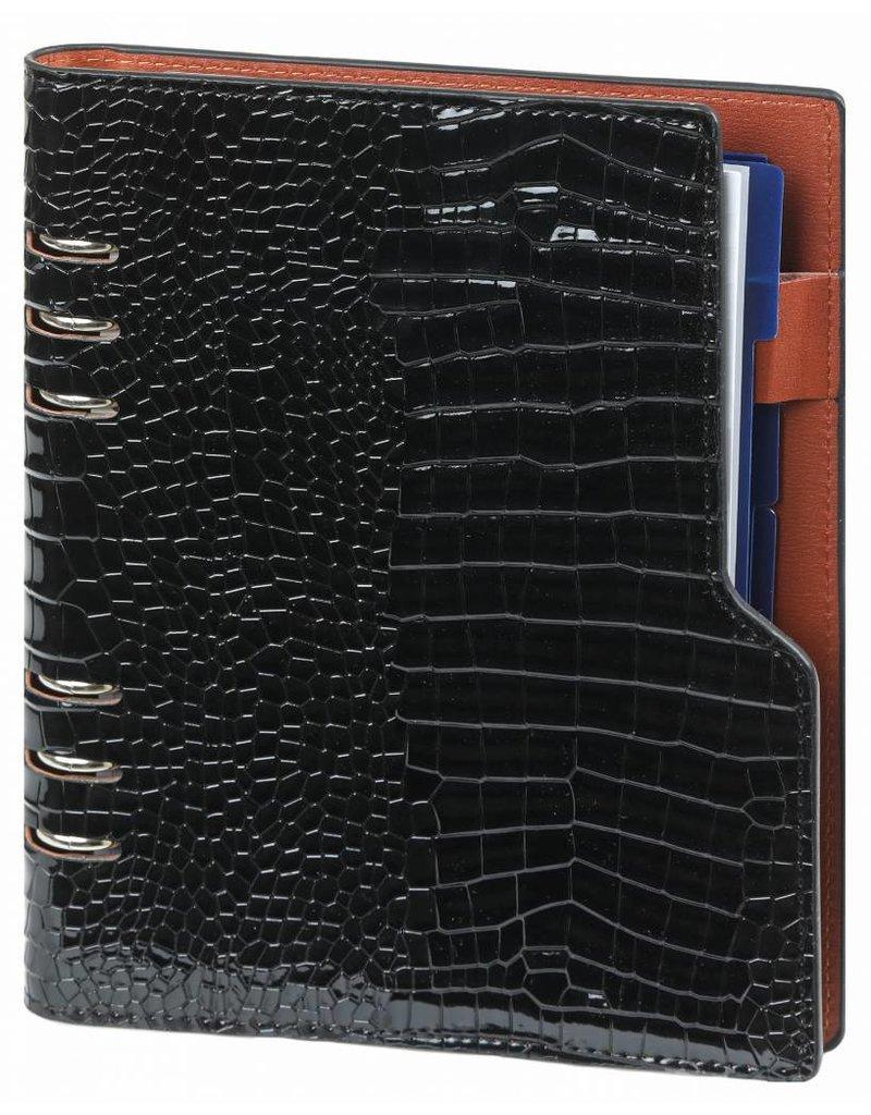 Kalpa Compact A5 organizer gloss croco zwart  met planner