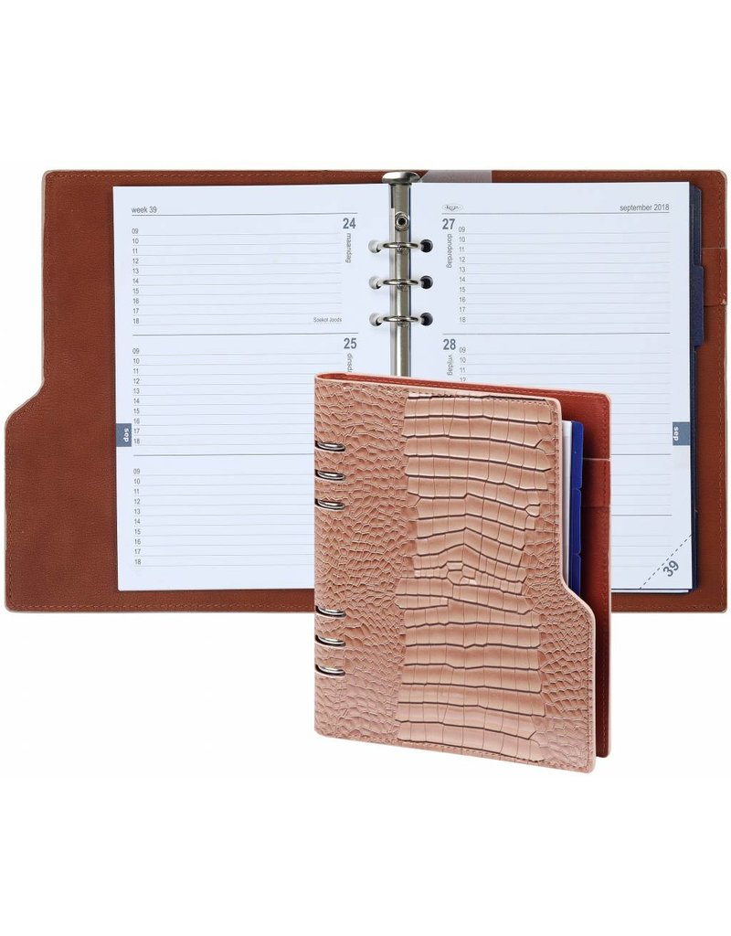 Kalpa Kalpa A5 Compact Organizer Gloss Croco Taupe with Planner