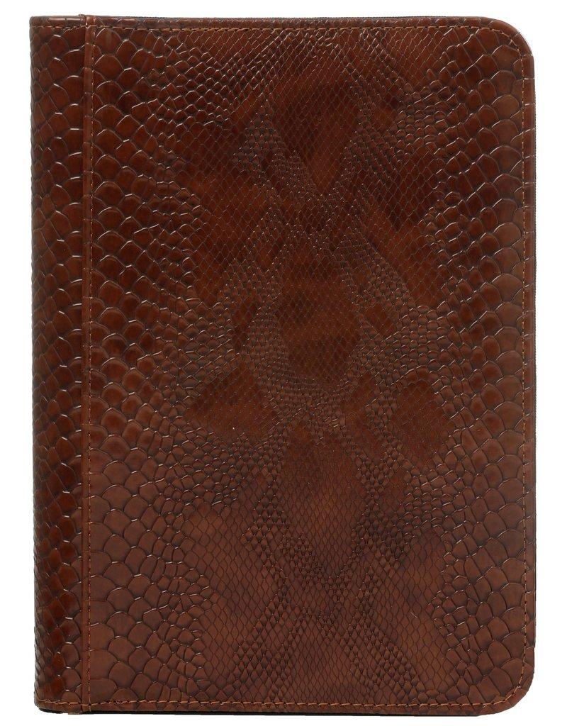 Kalpa A5 writing case with zip croco brown