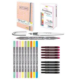 ONLINE Schreibgeräte 81625 Handlettering Set, 10 kalligrafie stiften met dubbele punt, kalligrafie vulpen, Bullet Journal, gekleurde inktpatronen, linnen penetui