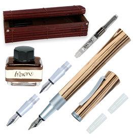 ONLINE Schreibgeräte 37712 Set calligraphy fountain pen incl. ink bottle Brown