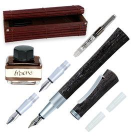 ONLINE Schreibgeräte 37705 Set calligraphy fountain pen incl. ink bottle Brown