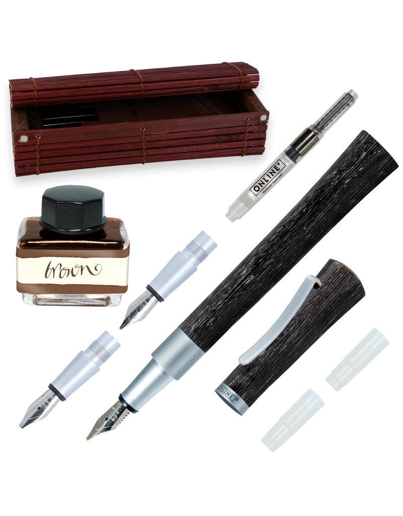 ONLINE Schreibgeräte Set calligraphy fountain pen incl. ink bottle Brown