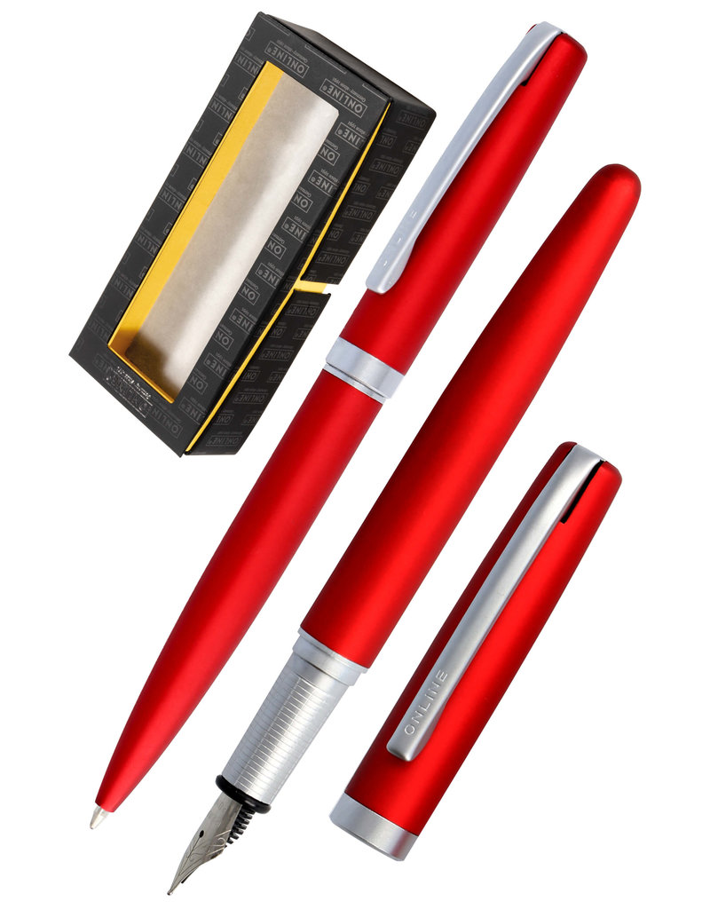 ONLINE Schreibgeräte Set fountain pen/ballpen Satin Red