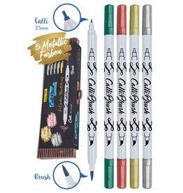 ONLINE Schreibgeräte ONL19089 5 metallic Calli.Brush pennen dubbele punt in bamboe doos