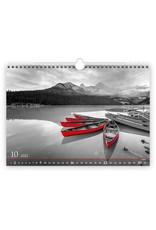 Helma C267-22 Kalpa Wall Calendar 2022 Black and Red 48.5 x 34 cm